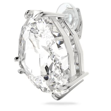 Pendiente de clip Mesmera, Individual, Cristal de talla triangular, Blanco, Baño de rodio - Swarovski, 5600752