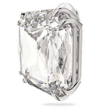 Pendiente Mesmera, Individual, Cristal de talla cuadrada, Blanco, Baño de rodio - Swarovski, 5600756