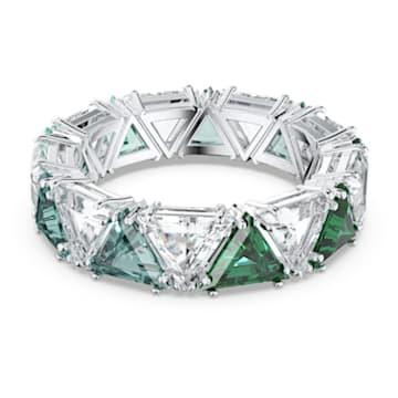 Anillo de cóctel Millenia, Cristales de talla triangular, Verde, Baño de rodio - Swarovski, 5600760