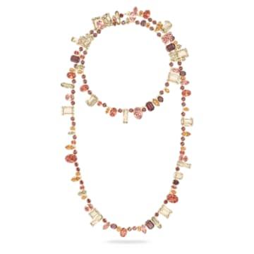 Náhrdelník Gema, Vícebarevná, Pokoveno ve zlatém odstínu - Swarovski, 5600764