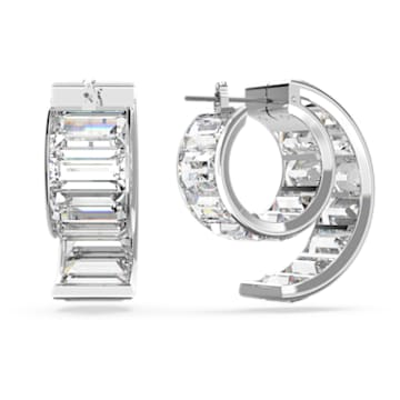 Matrix hoop earrings, Baguette cut crystals, White, Rhodium plated - Swarovski, 5600776