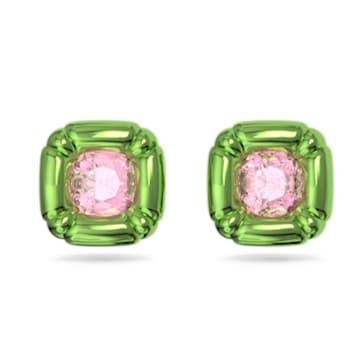 Dulcis stud earrings, Cushion cut crystals, Green - Swarovski, 5600778