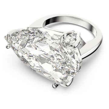 Mesmera 鸡尾酒戒指, 三棱形切割仿水晶, 白色, 镀铑 - Swarovski, 5600856