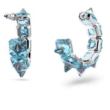 Chroma hoop earrings, Blue, Rhodium plated - Swarovski, 5600894