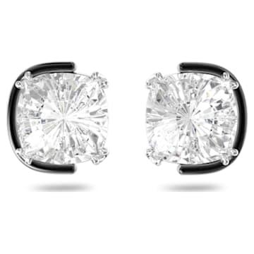 Harmonia 穿孔耳環, 枕形切割Swarovski水晶, 白色, 多種金屬潤飾 - Swarovski, 5600943