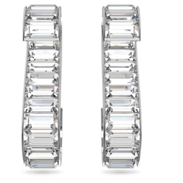 Matrix earrings, White, Rhodium plated - Swarovski, 5600973