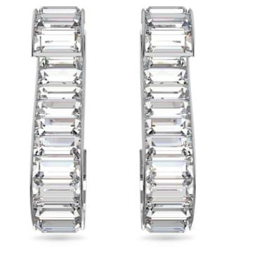 Matrix S 穿孔耳環, 白色, 鍍白金色 - Swarovski, 5600973