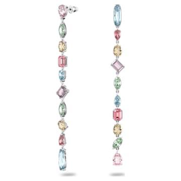 Gema 水滴形耳环, 超长, 流光溢彩, 镀铑 - Swarovski, 5600979