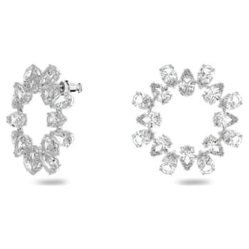 Boucles d'oreilles Millenia, Cercle, Cristaux taille poire, Blanc, Métal rhodié - Swarovski, 5601509