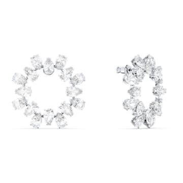Boucles d'oreilles Millenia, Cercle, cristaux taille poire, Blanches, Métal rhodié - Swarovski, 5601509