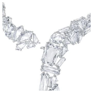Mesmera ketting, Oversized kristallen, Wit, Rodium toplaag - Swarovski, 5601526