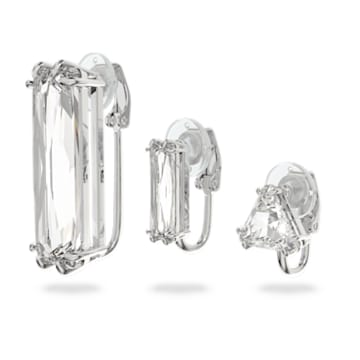Brinco de mola Mesmera, Único, Conjunto, Cristal de lapidação baguete, Branco, Lacado a ródio - Swarovski, 5601534