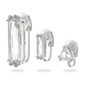Mesmera 夾式耳環, 單個, 套裝, 長方形切割Swarovski水晶, 白色, 鍍白金色 - Swarovski, 5601534