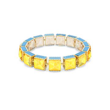 Brățară Orbita, Cristal cu tăietură pătrată, Multicoloră, Placat cu auriu - Swarovski, 5601885