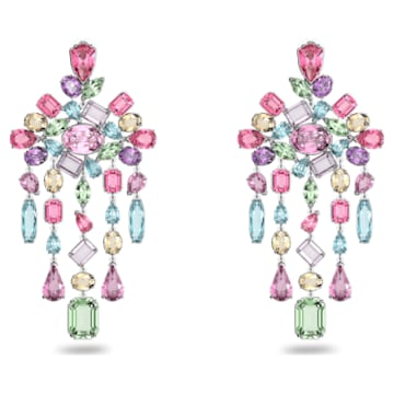 Gema clip earrings, Chandelier, Multicoloured, Rhodium plated - Swarovski, 5601887