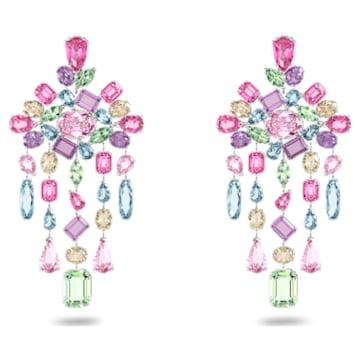 Pendientes de clip Gema, Candelabro, Multicolor, Baño de rodio - Swarovski, 5601887