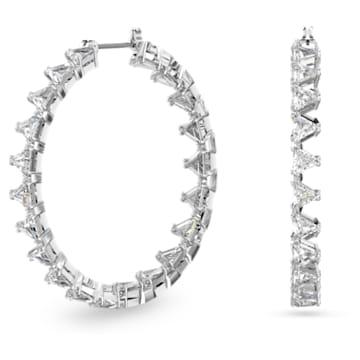 Millenia 大圈耳环, 三角形切割Swarovski皓石, 白色, 镀铑 - Swarovski, 5602230