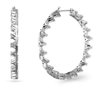 Millenia 大圈耳环, 三角形切割Swarovski皓石, 大码, 白色, 镀铑 - Swarovski, 5602230