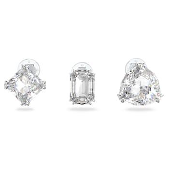Pendiente de clip Millenia, Individual, Conjunto, Blanco, Baño de rodio - Swarovski, 5602413