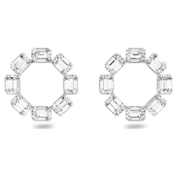 Millenia earrings, Circle, White, Rhodium plated - Swarovski, 5602780