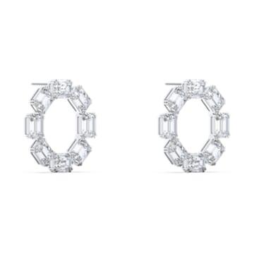 Millenia Earrings, Circle, White, Rhodium plated - Swarovski, 5602780