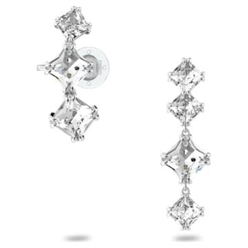 Millenia 水滴形耳環, 單個, 非對稱, 套件, 白色, 鍍白金色 - Swarovski, 5602782