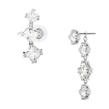 Millenia 水滴形耳环, 单个, 不对称, 套装, 白色, 镀铑 - Swarovski, 5602782