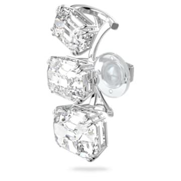 Millenia ear cuff, Single, Graduated crystals, White, Rhodium plated - Swarovski, 5602783