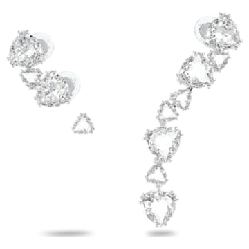 Cercei ear cuff Millenia, Fără pereche, Asimetrică, Set, Alb, Placat cu rodiu - Swarovski, 5602846
