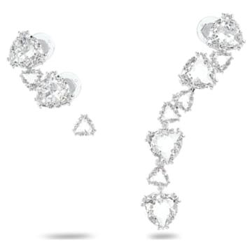 Orecchino a clip Millenia, Asimmetricat, Set, Bianco, Placcato rodio - Swarovski, 5602846