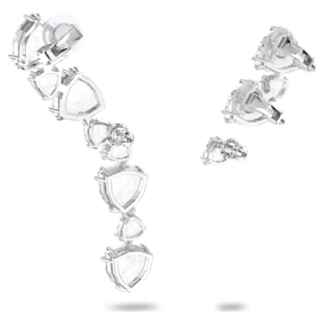 Boucle d'oreille manchette Millenia, Mono, Asymétrique, Parure, Blanc, Métal rhodié - Swarovski, 5602846