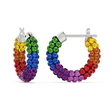 Tigris hoop earrings, Multicoloured, Rhodium plated - Swarovski, 5604958