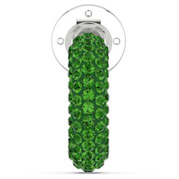 Pendientes Ear Cuff Tigris, Individual, Verde, Baño de rodio - Swarovski, 5604959