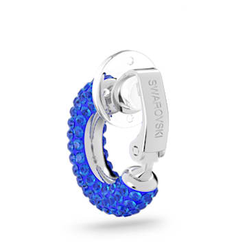 Tigris ear cuff, Enkel, Blauw, Rodium toplaag - Swarovski, 5604961