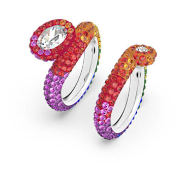 Tigris 戒指, 不对称, 套装, 流光溢彩, 镀铑 - Swarovski, 5605010