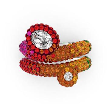 Tigris ring, Asymmetrical, Set, Multicolored, Rhodium plated - Swarovski, 5605010