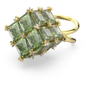Curiosa cocktail ring, Square, Green, Gold-tone plated - Swarovski, 5606948