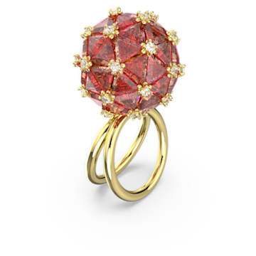Curiosa ring, Circle, Orange, Gold-tone plated - Swarovski, 5606949
