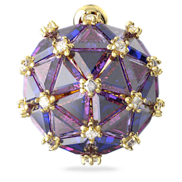 Curiosa stud earring, Single, Round, Blue, Gold-tone plated - Swarovski, 5606952