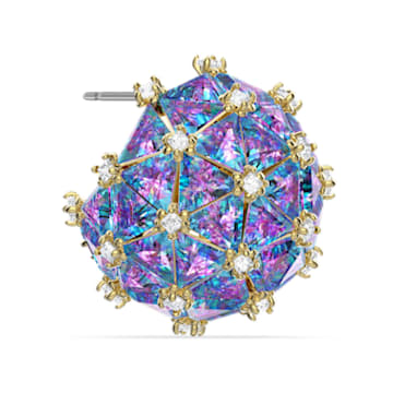 Curiosa 耳钉耳环, 单个, 圆形切割, 蓝色, 镀金色调 - Swarovski, 5606952