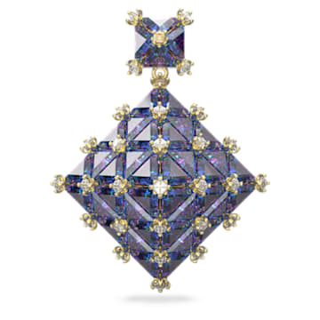 Brinco Curiosa, Único, Quadrada, Azul, Lacado a dourado - Swarovski, 5607211