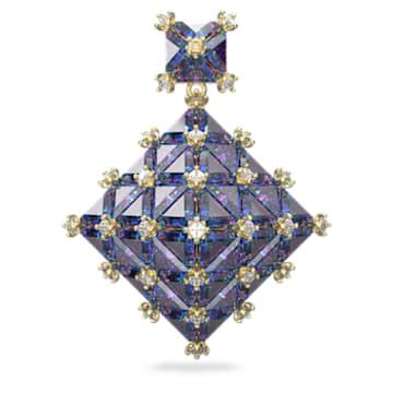 Kolczyk zapinany na sztyft Curiosa, Pojedynczy, Niebieski, Powłoka w odcieniu złota - Swarovski, 5607211