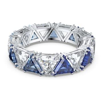 Δαχτυλίδι κοκτέιλ Millenia, Κρύσταλλα τρίγωνης κοπής, Μπλε, Επιμετάλλωση ροδίου - Swarovski, 5608526