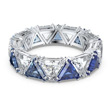 Millenia cocktail ring, Triangle cut crystals, Blue, Rhodium plated - Swarovski, 5608528