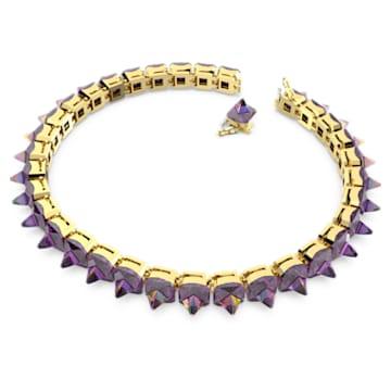 Chroma 束颈项链, 钉状仿水晶, 紫色, 镀金色调 - Swarovski, 5608714
