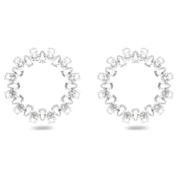 Boucles d'oreilles Millenia, Cercle, Blanc, Métal rhodié - Swarovski, 5608814