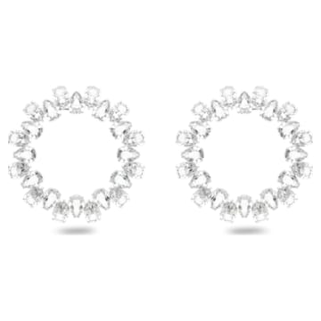 Millenia earrings, Circle, White, Rhodium plated - Swarovski, 5608814