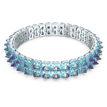 Chroma 頸鍊, 釘狀切割Swarovski 水晶, 藍色, 鍍白金色 - Swarovski, 5608903