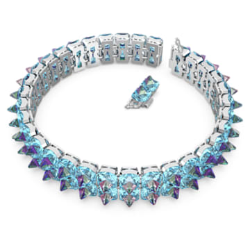 Chroma 束颈项链, 钉状仿水晶, 蓝色, 镀铑 - Swarovski, 5608903