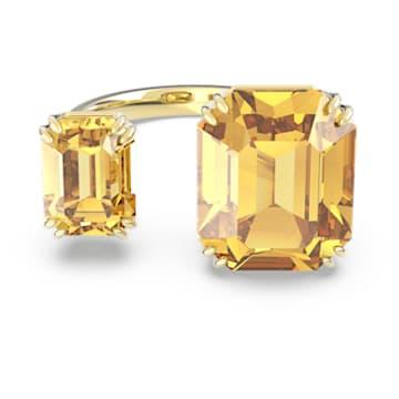 Anillo de cóctel Millenia, Cristales de talla cuadrado, Amarillo, Baño tono oro - Swarovski, 5608997